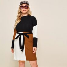 Plus Drop Shoulder Ribbed Knit Belted Sweater Dress