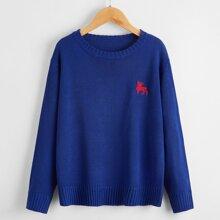 Pullover mit Hirsch Stickereien