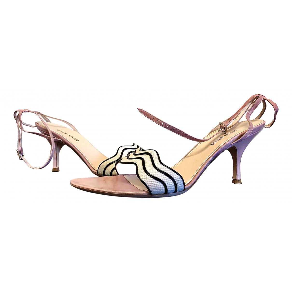 Giorgio Armani N Pink Leather Sandals for Women 38.5 EU