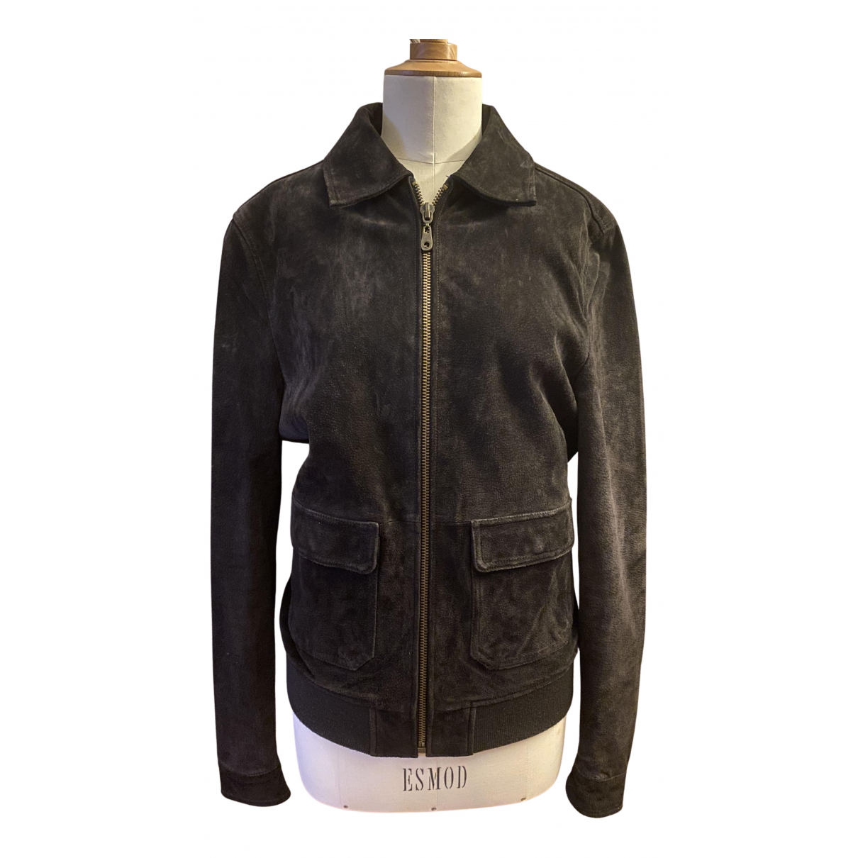 Non Signé / Unsigned N Brown Leather jacket for Women XS International