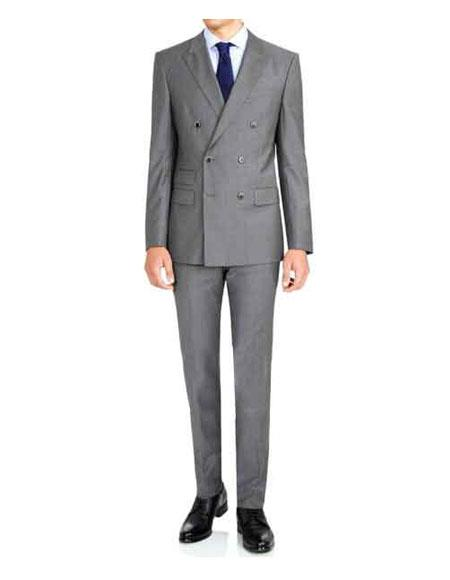 Mens Kingsman Grey Double Breasted ButtonClosure Dual Waist PocketSuit