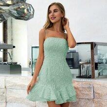 Double Crazy Cami Kleid mit Raffungsaum und Punkten Muster