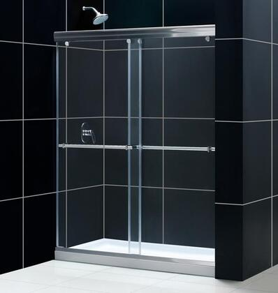 DL-6942L-01CL Charisma 34 In. D X 60 In. W Frameless Bypass Shower Door In Chrome With Left Drain White Acrylic Base