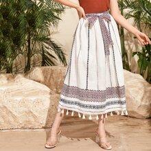 Self Belted Tassel Hem Tribal Print Skirt