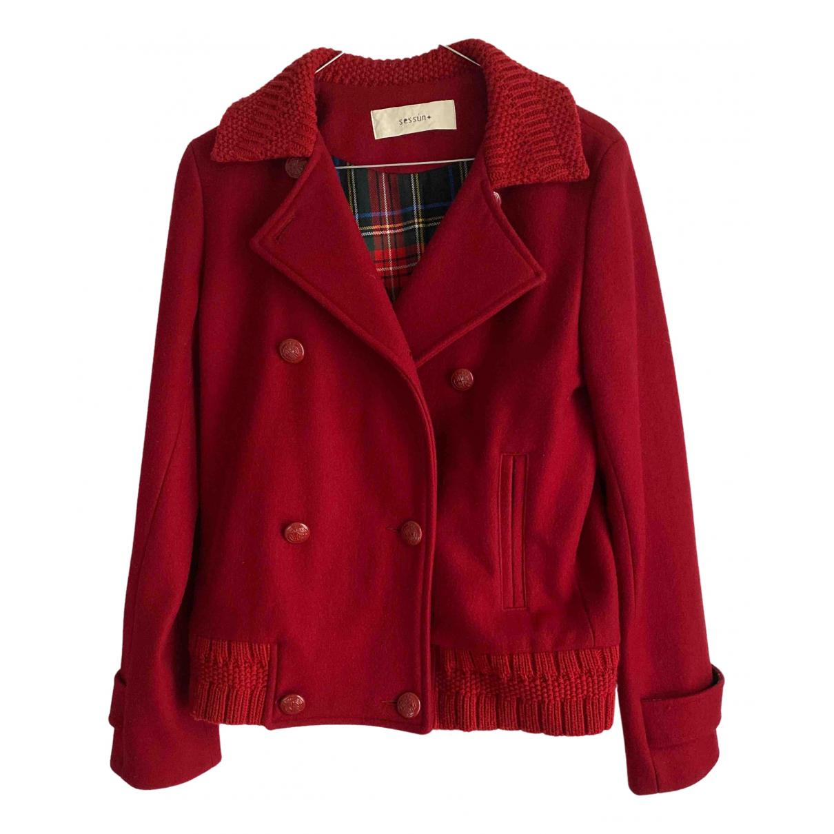 Sessun - Veste   pour femme en laine - rouge