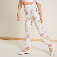 Girls Floral Print Pants