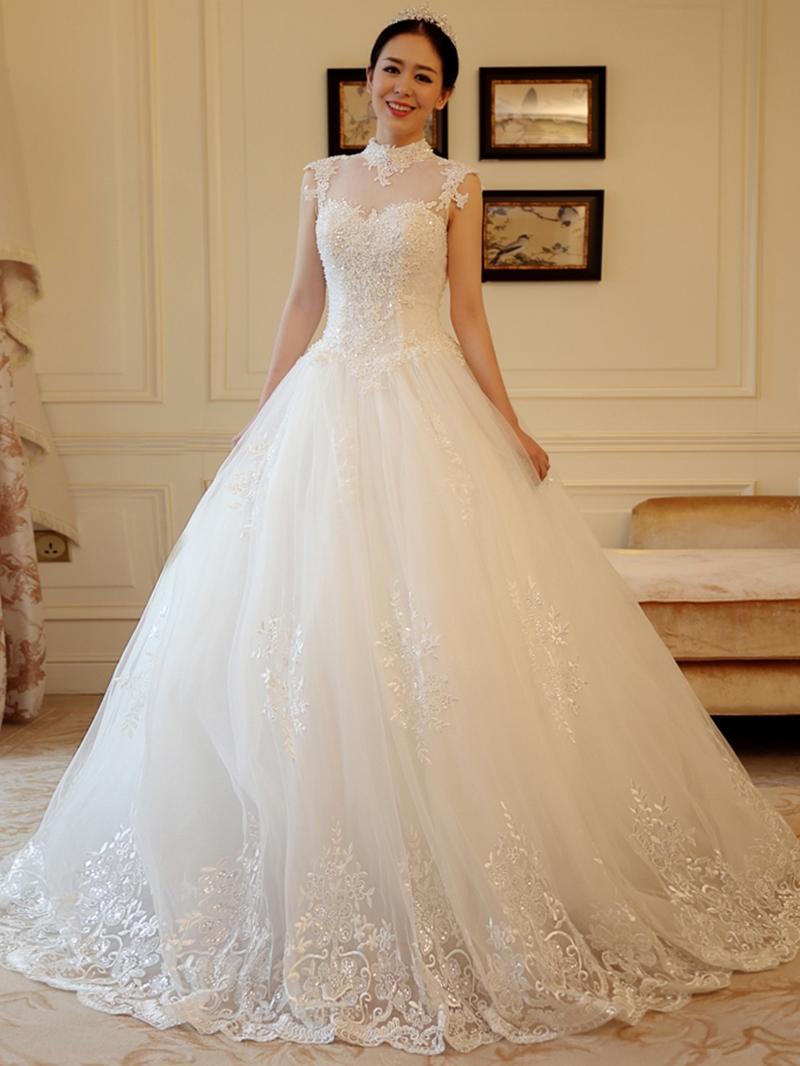 Ericdress High Neck Pearl Appliques Ball Gown Wedding Dress