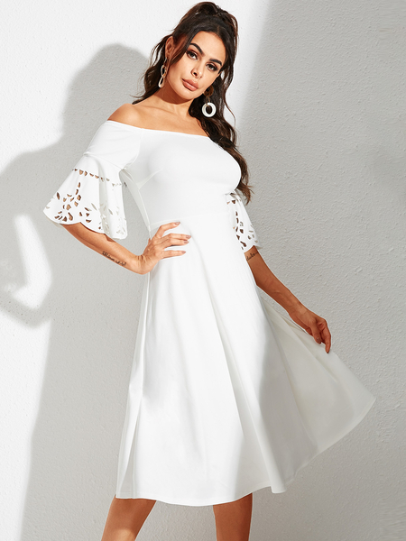 YOINS White Hollow Design Off The Shoulder Bell Sleeves Dress