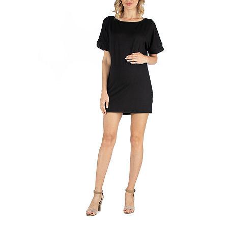 24/7 Comfort Apparel Scoop Neck Loose Fit Dolman Sleeve Dress, Large , Black