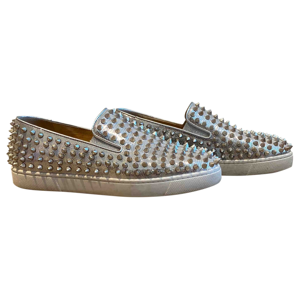 Christian Louboutin Pik Boat Silver Leather Trainers for Women 38 EU