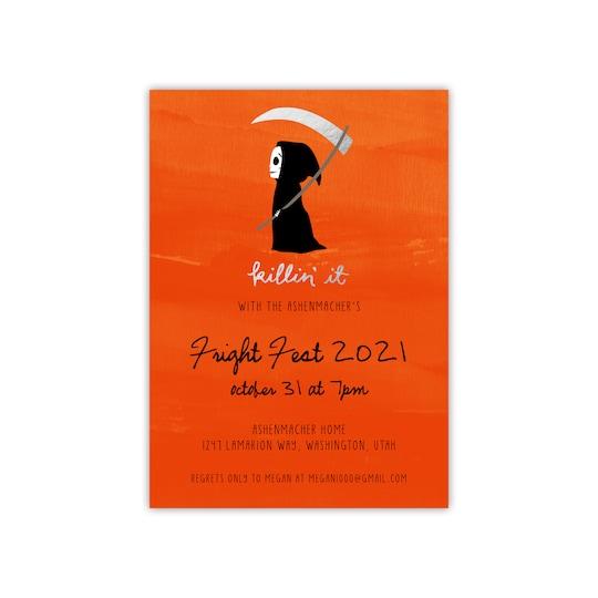 Gartner Studios® Personalized Killin' It Flat Halloween Foil Invitation in Orange   Michaels®