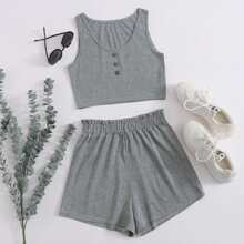 Button Front Crop Tank Top With Shorts