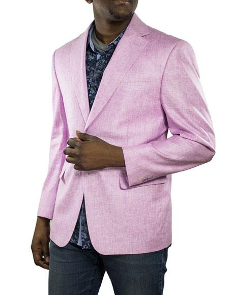Men's Lilac One Ticket Pocket Thread & Stitch 100% Linen Blazer
