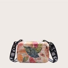 Bolso caja de niñas con estampado de hoja