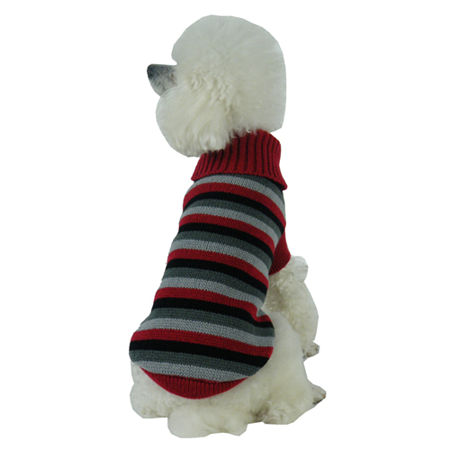 The Pet Life Polo-Casual Lounge Cable Knit Designer Turtle Neck Dog Sweater, One Size , Red