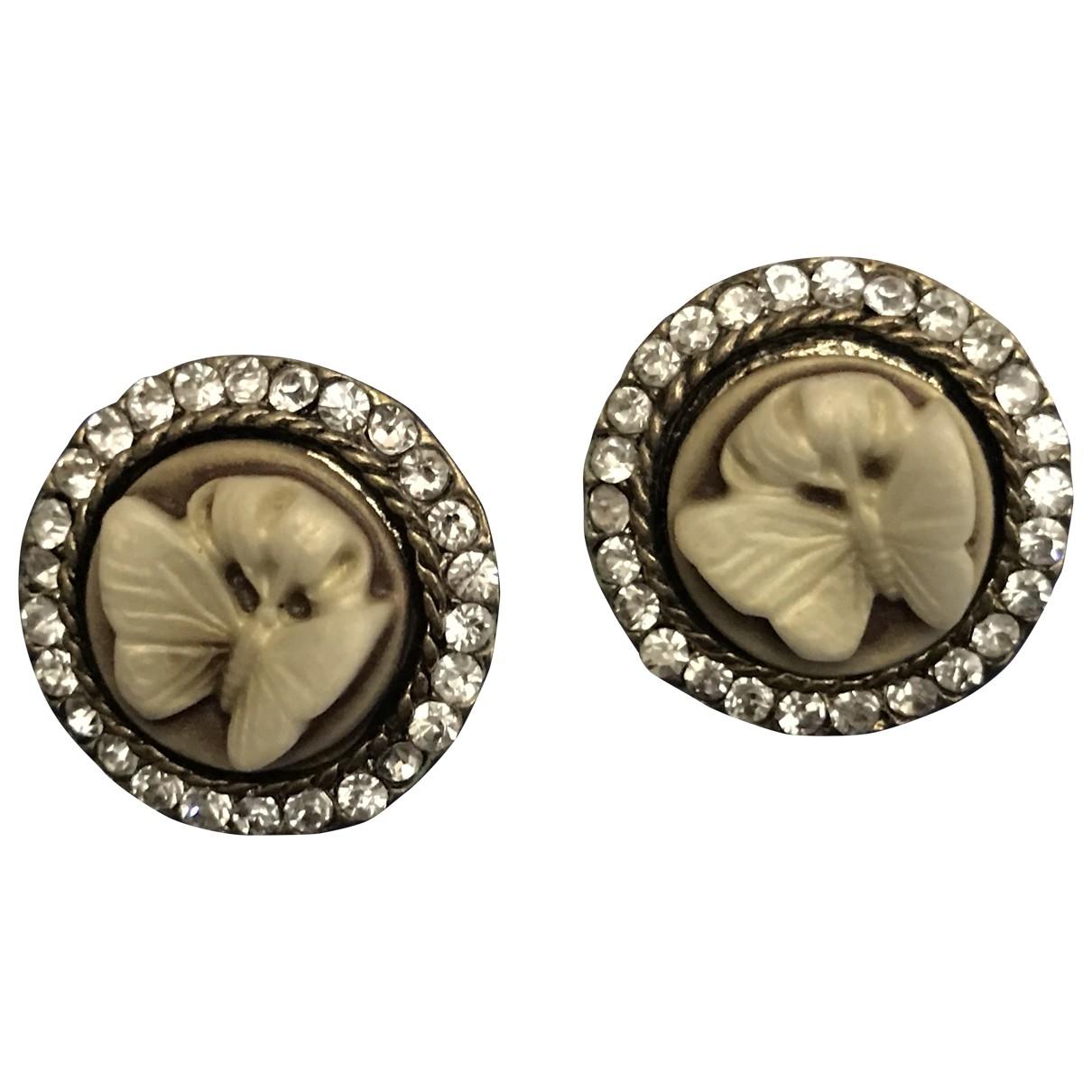 Non Signé / Unsigned Motifs Animaliers Beige Crystal Earrings for Women \N