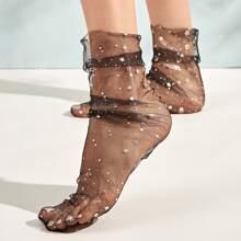 1 Paar Stern Muster Slouchy Netzstoff Socken