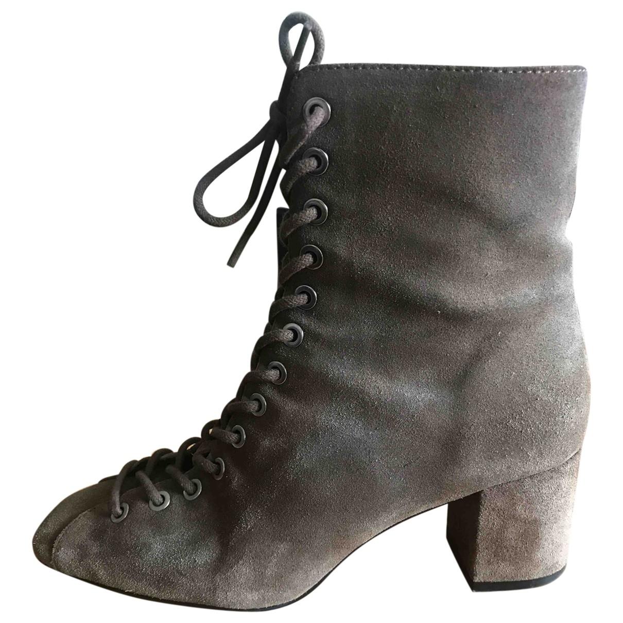 Uterque - Boots   pour femme en suede - marron