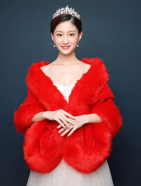Milanoo Chaqueta nupcial del abrigo del invierno de la piel sintetica del chal rojo de la boda