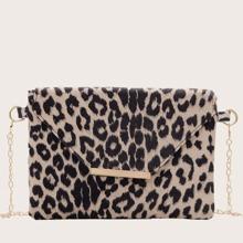Leopard Print Flap Clutch Bag