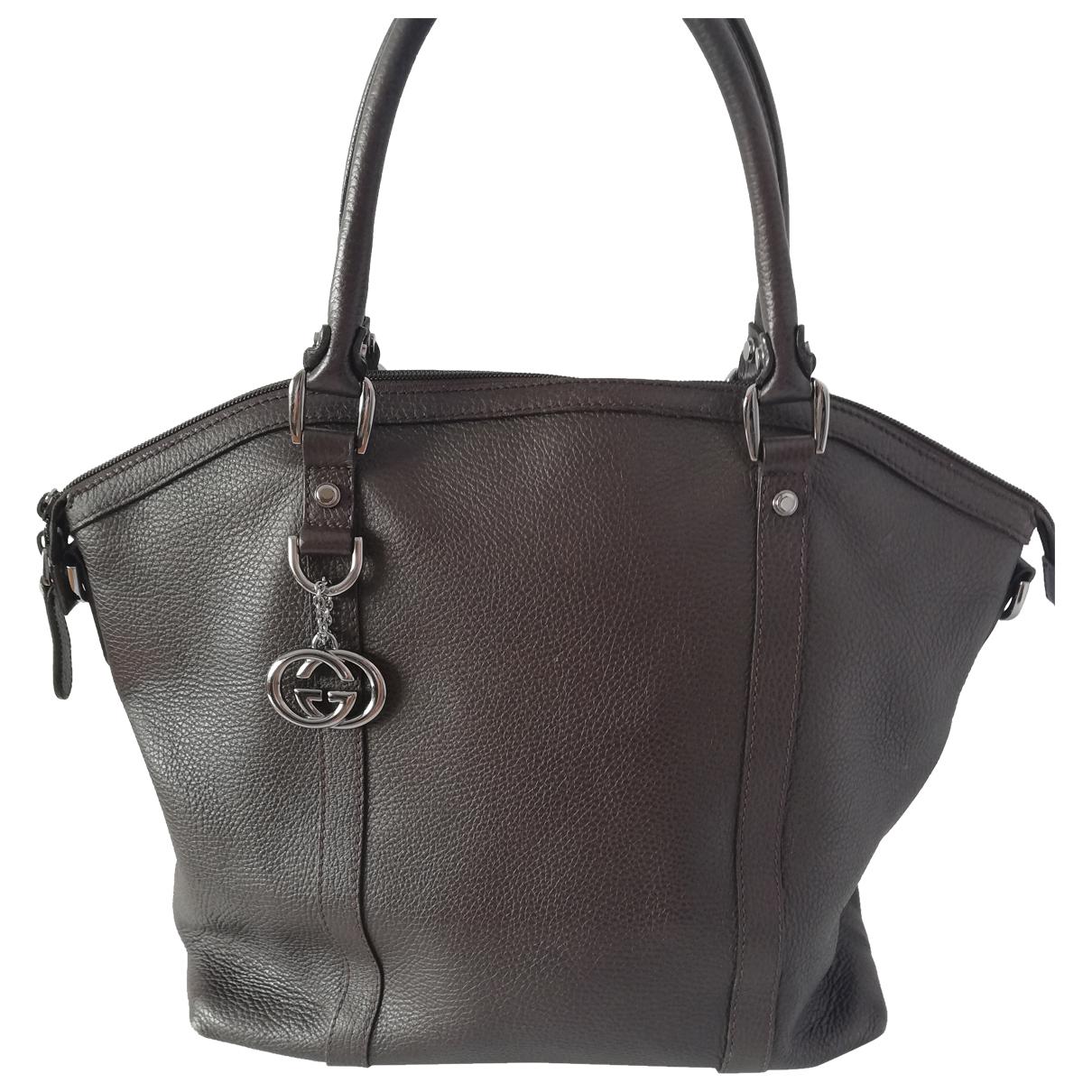 Gucci Dome Handtasche in  Braun Leder