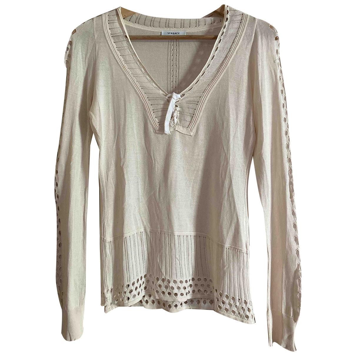 Versace - Pull   pour femme en coton - beige