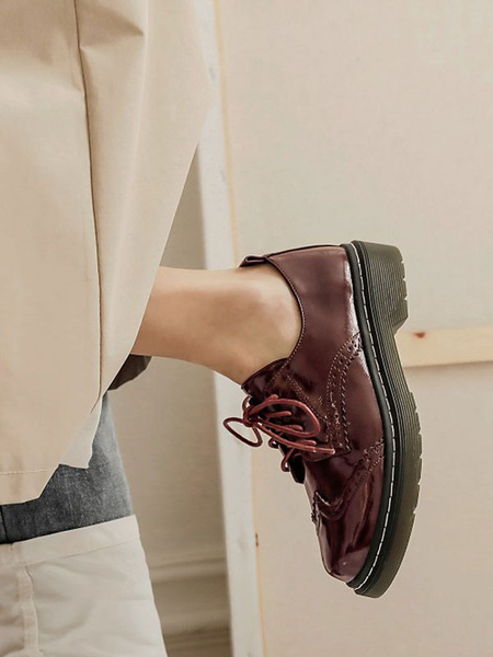 Milanoo Zapatos casuales con cordones de cuero de PU de punta redonda para mujer de Oxfords blancos