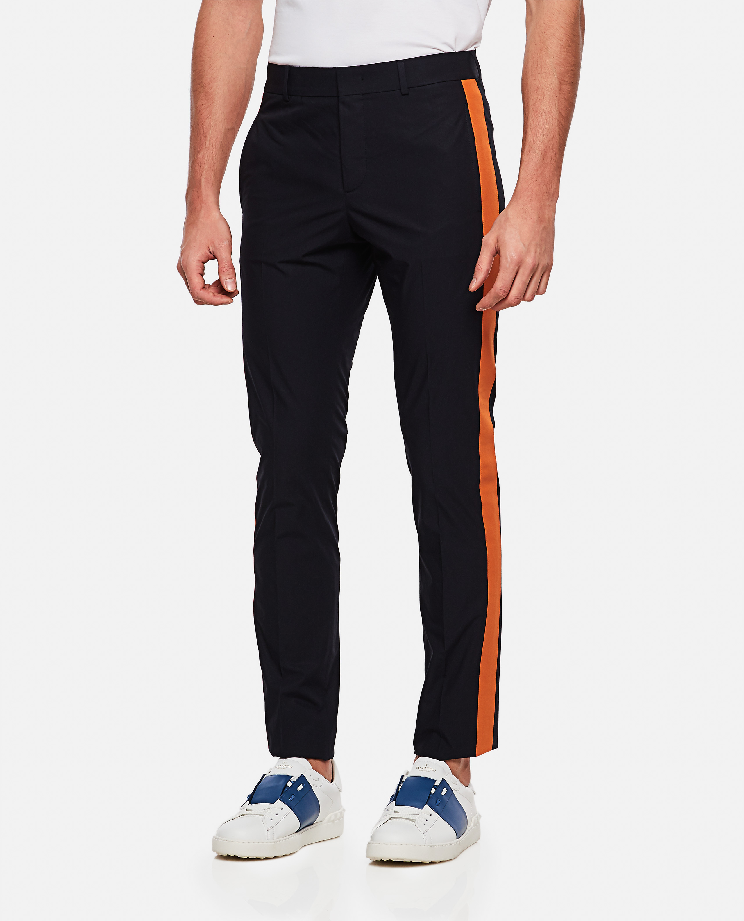 Pants with contrasting panels