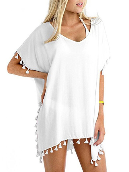 Milanoo Women Cover Up V Neck Short Sleeve Fringe Casual Beach Dress