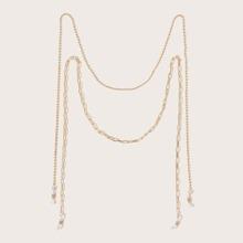 2pcs Simple Bead & Chain Link Glasses Chain