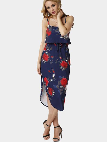 Yoins Random Floral Print Sleeveless Maxi Dress with Adjustable Straps