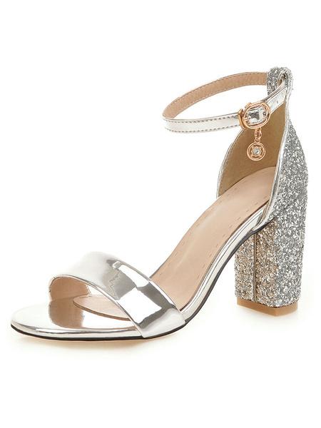 Milanoo High Heel Sandals Womens Chunky Heels Sequined Open Toe Ankle Strap Block Heel Sandals