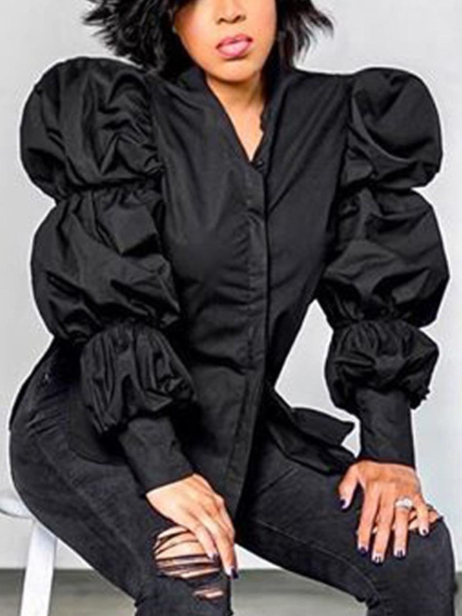 LW lovely Vintage Puffed Sleeves Black Coat