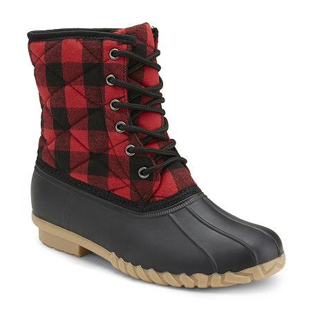 Olivia Miller Womens Duck Boots Flat Heel, 9 Medium, Red