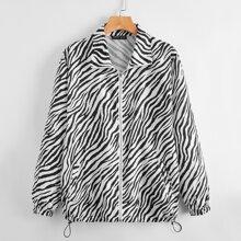 Drawstring Hem Zebra Striped Jacket