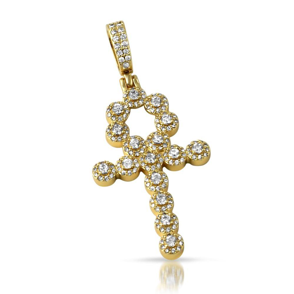 Skinny Cluster Ankh Cross CZ Bling Bling Pendant in Gold