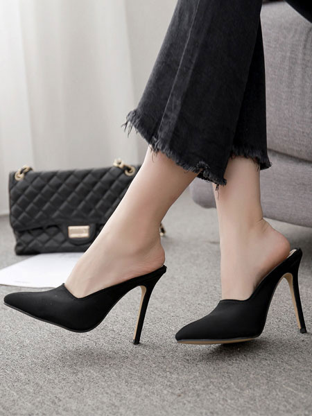 Milanoo Zapatos de tacon alto mujer color caqui punta estrecha estilete talon mula