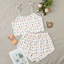 Plus Allover Fruit Tie Shoulder Pajama Set