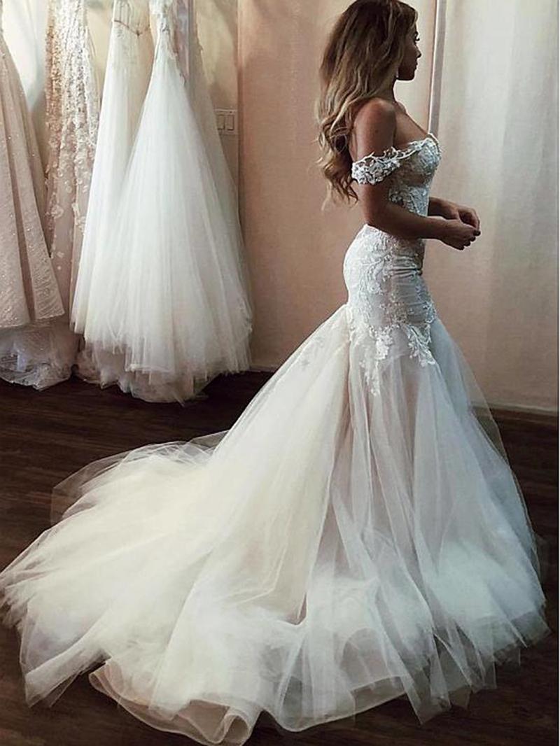 Ericdress Off the Shoulder Appliques Mermaid Wedding Dress