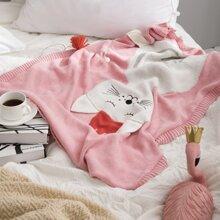 Kids Knitted Cartoon Cat Blanket