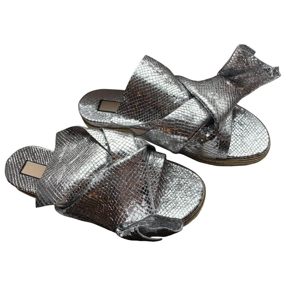 N°21 \N Silver Leather Sandals for Women 37 EU