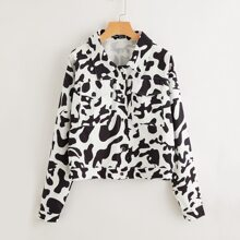 Button Front Cow Print Jacket
