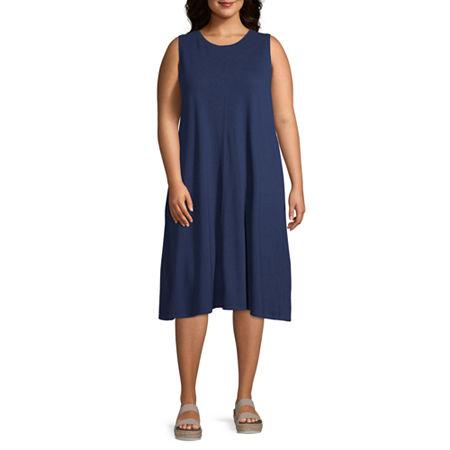 a.n.a-Plus Sleeveless Sheath Dress, 2x , Blue