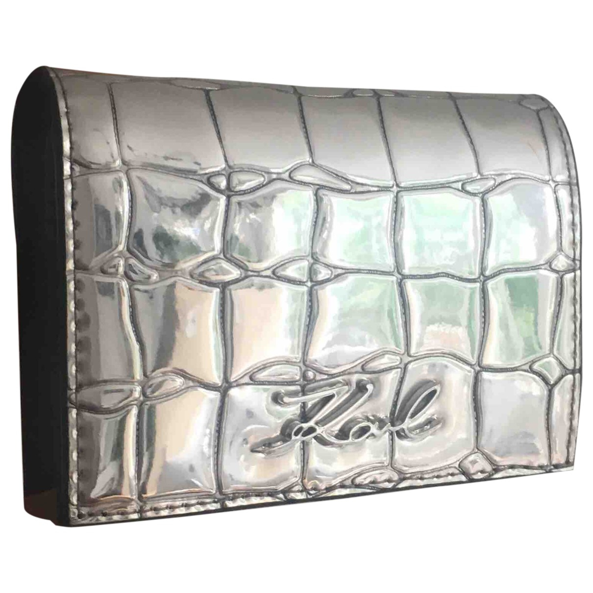 Karl Lagerfeld - Portefeuille   pour femme en cuir - argente