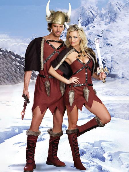 Milanoo Disfraces de vikingo Conjunto de dos piezas Traje de cosplay de pareja Halloween