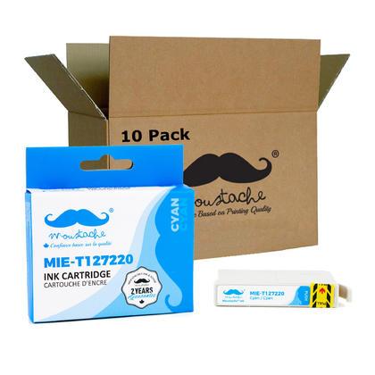 Compatible Epson T127220 cartouche d'encre cyan extra haute capacite - Moustache - 10/paquet