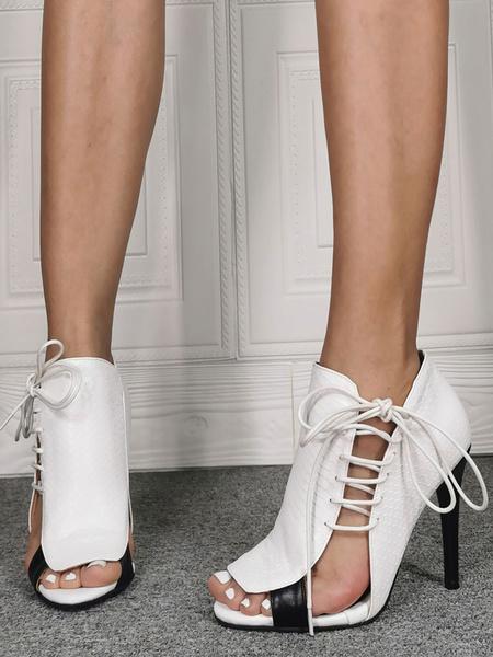 Milanoo Peep Toe High Heels Stiletto Heel Bohemian Side Lace Up Peep Toe Women\'s Shoes