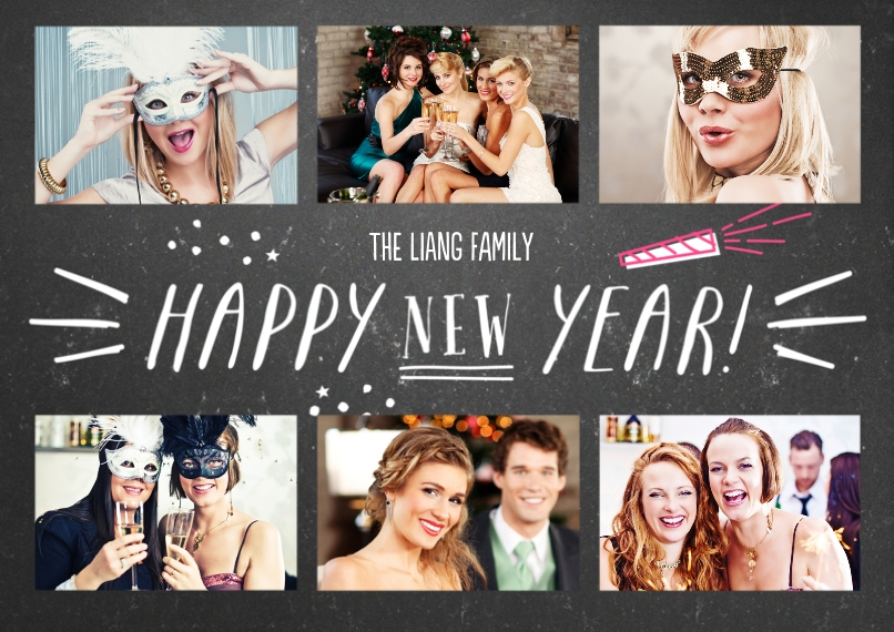 New Years 5x7 Cards, Premium Cardstock 120lb, Card & Stationery -Hooray for the New Year