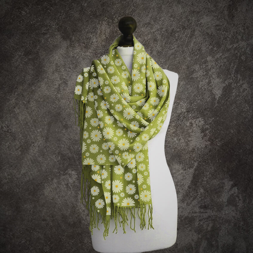 Daisy Floral Printed Women's Scarf Long Scarf
