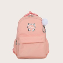 Pom-pom Charm Pocket Front  Backpack